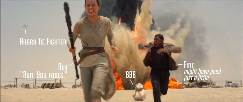 Rey, Finn, and BB8 run from Tie fighter attack